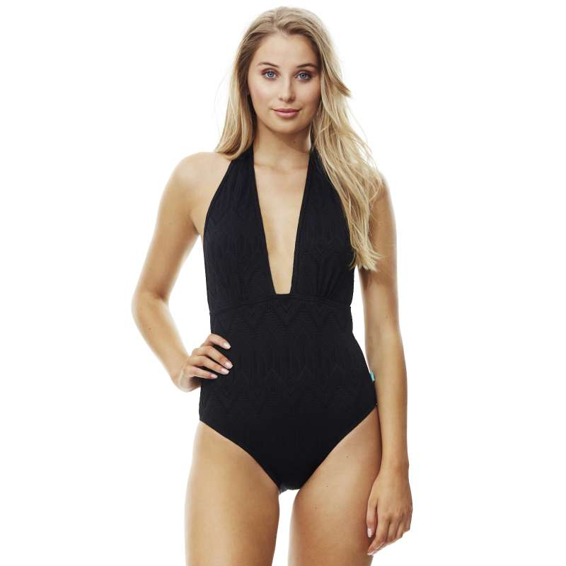 6f39386f2adde Piha Deep V Halter One Piece - Gelato - Splish Splash Swimwear