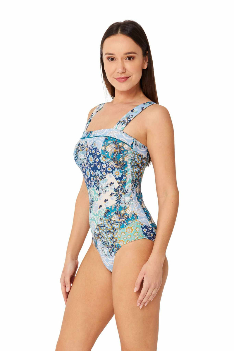 Monte & Lou Square Neck Maillot One Piece - Boheme