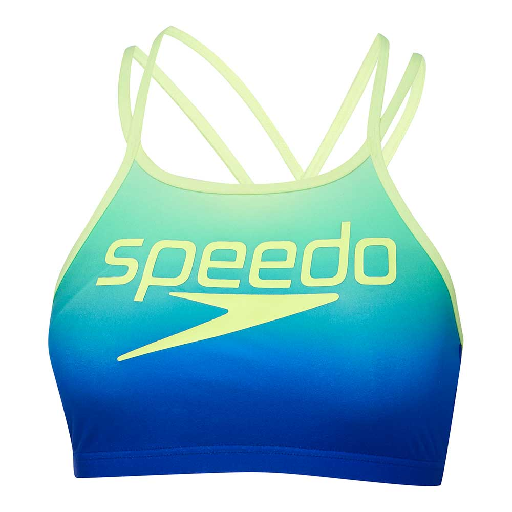 Speedo Womens High Neck Crossback Crop Top - Ombre Laguna