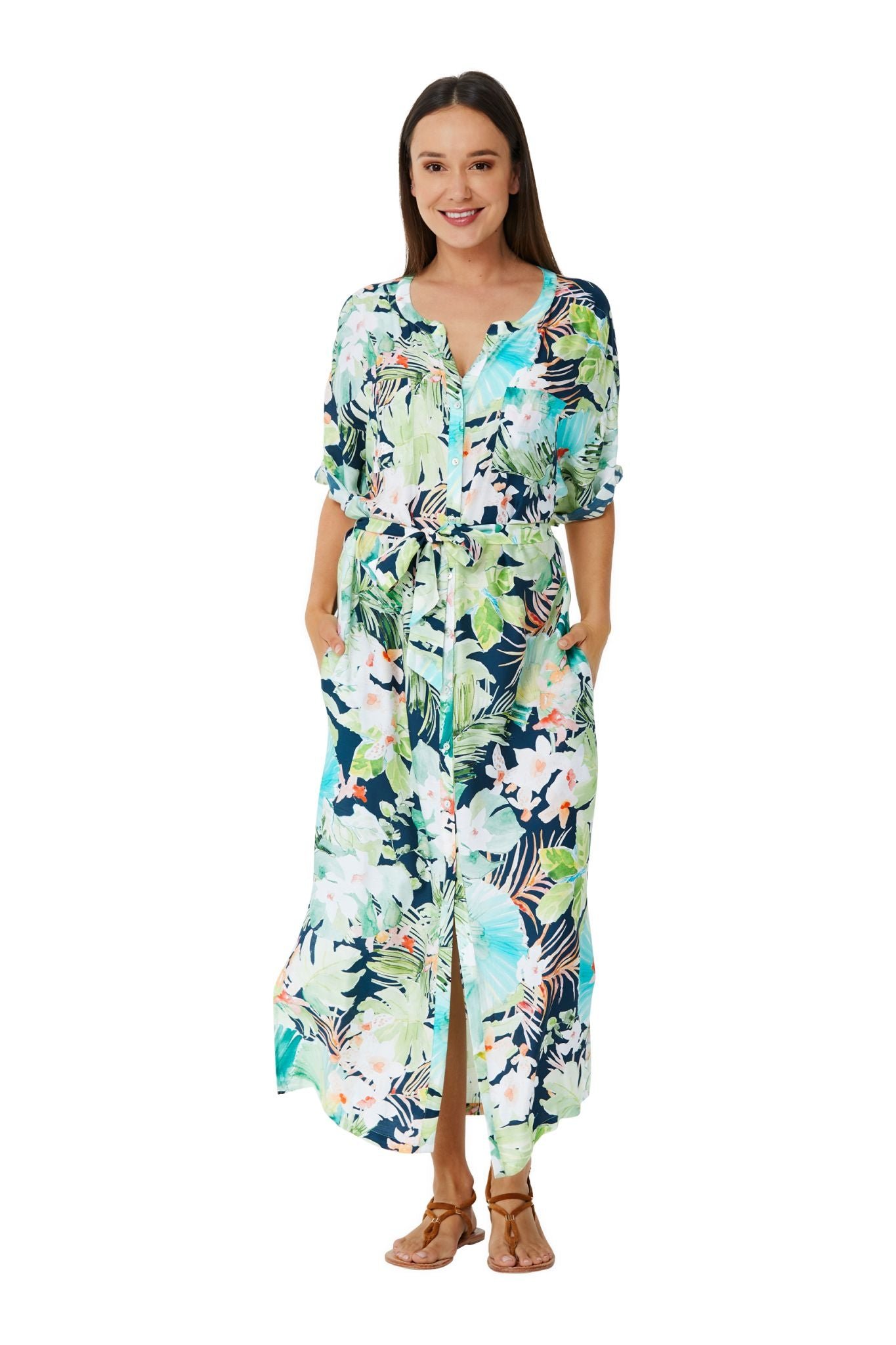 Monte & Lou Vacation Full Length Shirt Dress - Vacation