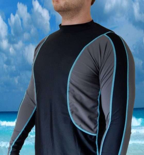 Radicool Mens Long Sleeve Rashie - Black/Grey