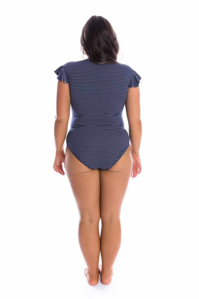 Capriosca Frill Sleeve One Piece - Navy & White Dots