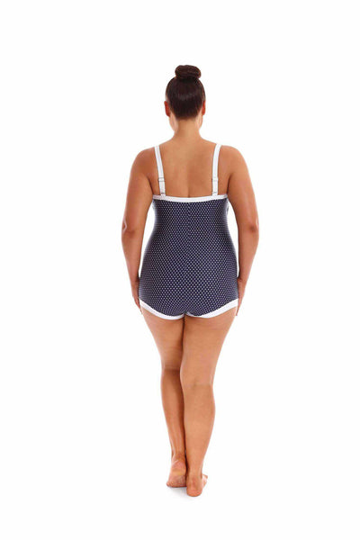 Capriosca Boyleg One Piece - Navy Dots-Splish Splash Swimwear-Splish Splash Swimwear