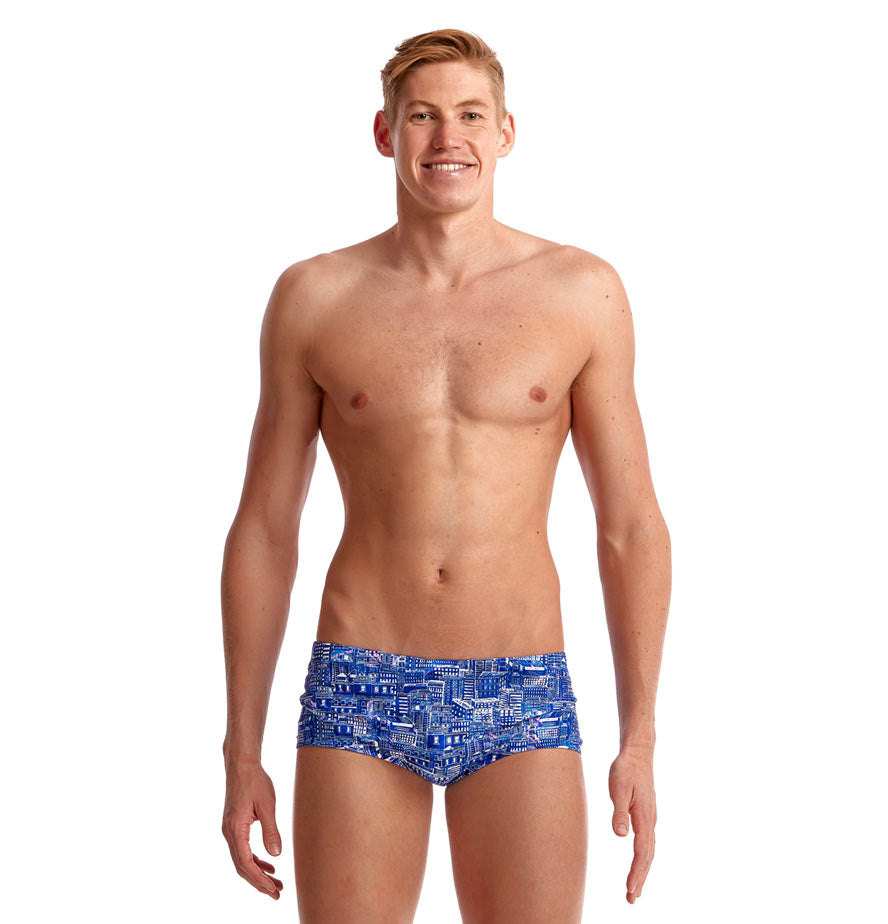 Funky Trunks Mens Plain Front Trunks - Sky City