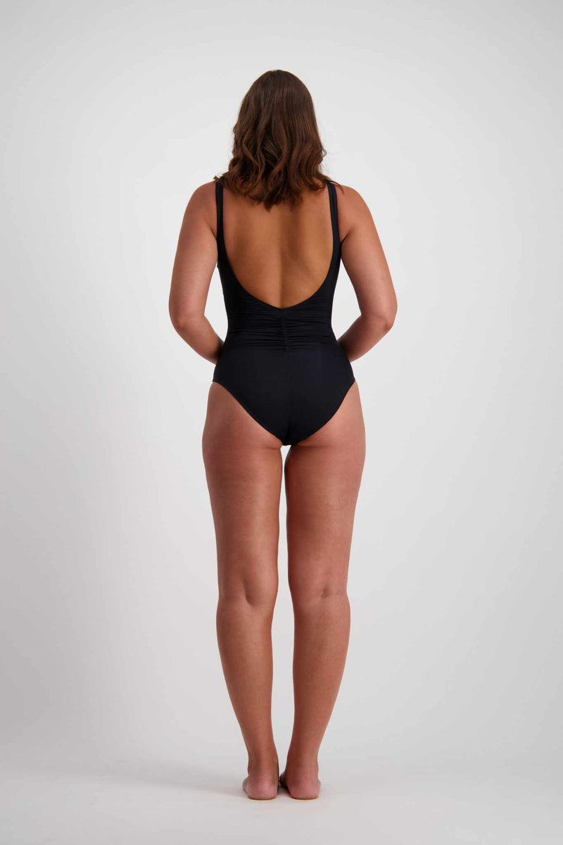 Moontide Side Ruched Plunge One Piece - Contours