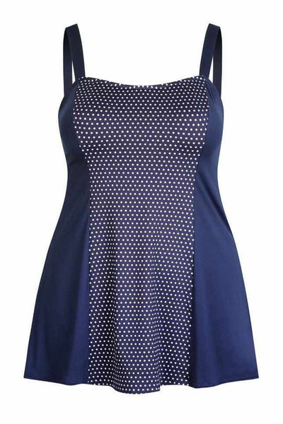 Capriosca Wide Strap Swim Dress - Navy Dots-Splish Splash Swimwear-Splish Splash Swimwear
