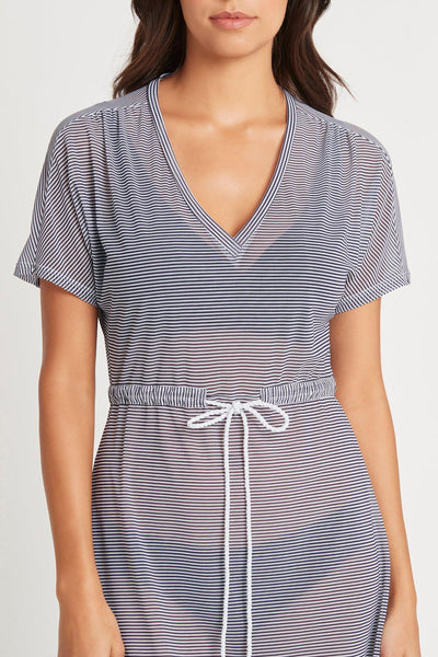 Sea Level Drawstring Mesh Overswim Dress - Positano Stripe