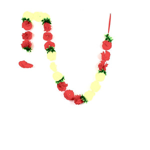 1 x Red & Lime White Flower Garland with Green Leaves (180cm Long)
