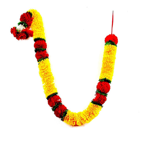 1 x Dark Yellow Petal & Red Artificial Flower Garland with Green Leaves (180cm Long)