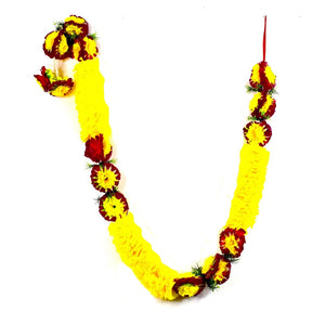 1 x Yellow Petal and Burgundy & Yellow Artificial Flower Garland with Green Leaves (180cm Long)