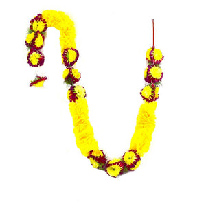 1 x Yellow Petal and Red & Yellow Artificial Flower Garland with Green Leaves (200cm Long)