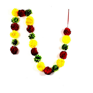 1 x Red / Yellow & Green Artificial Flower Garland (200cm Long)
