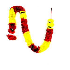1 x Red & Yellow Petal and Yellow / Red Artificial Flower Garland with Green Yellow Leaves (180cm Long)