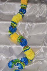 Blue flowers and Yellow petals with green leaf as spacers garland