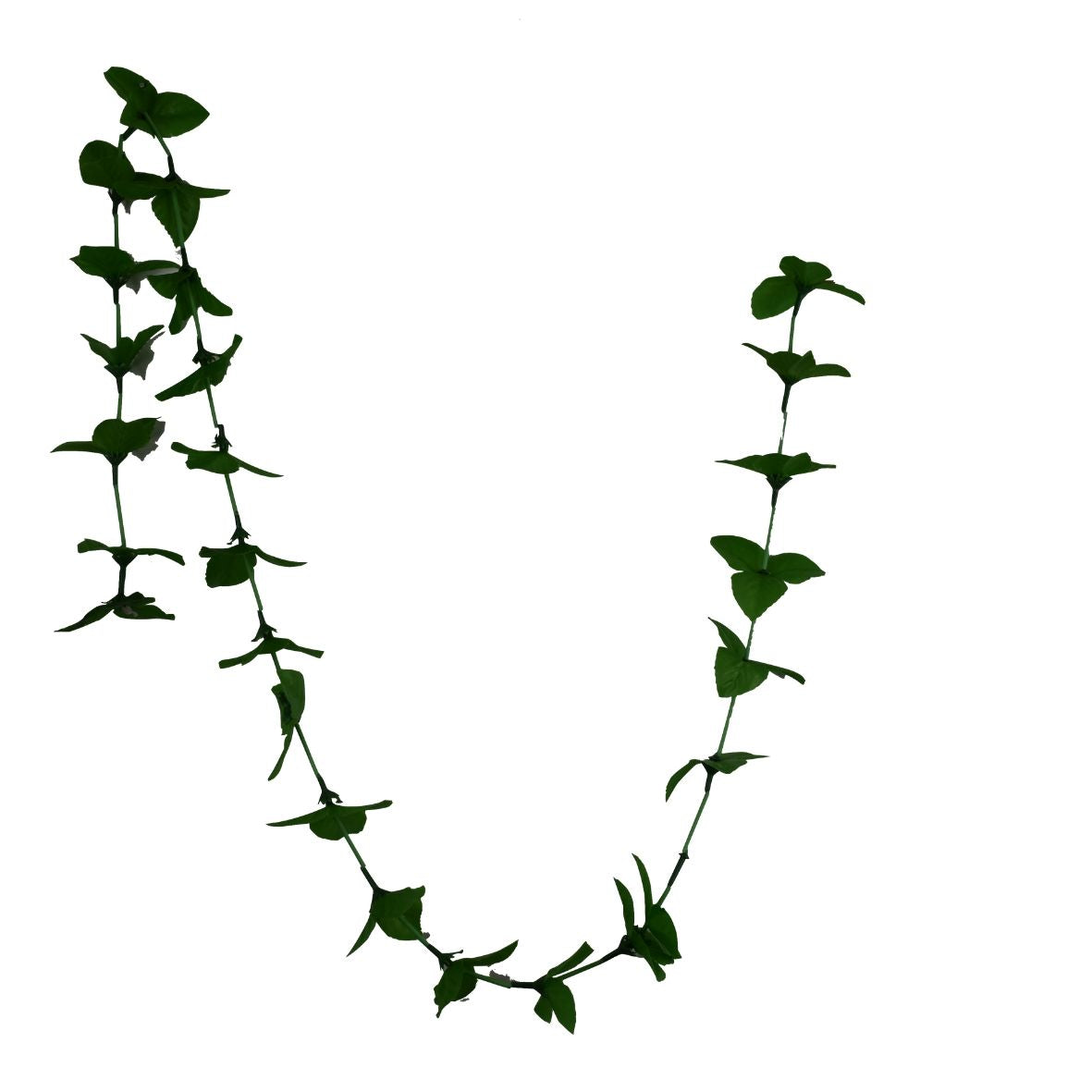 1 x Green Triple Leaf Artificial Hanging Garland with Green Stems (150cm Long)