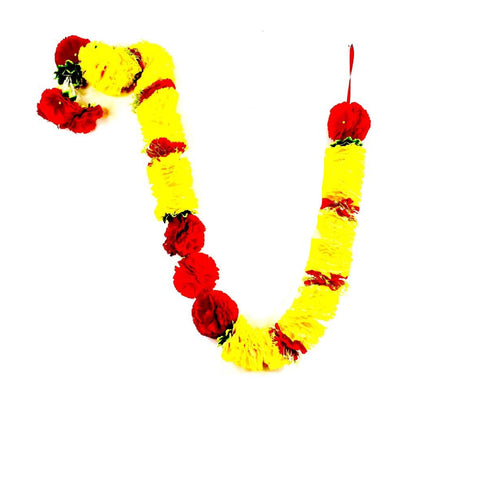 1 x Yellow Petal and Red Artificial Flower Garland with Green Leaves (180cm Long)