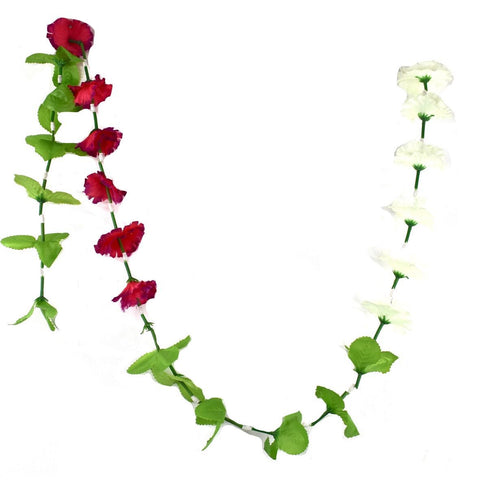 1 x Red & White Hanging Artificial Garland Flowers with Green Stems (150cm Long)