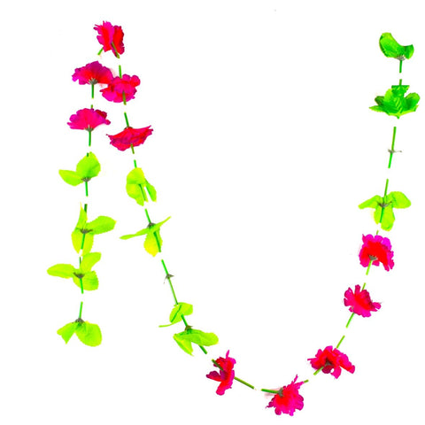 1 x Red Hanging Artificial Garland Flowers with Green Leaves & Stems (150cm Long)
