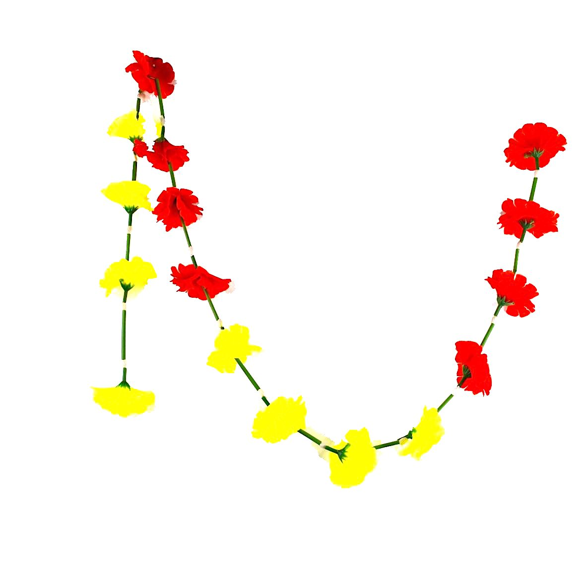 1 x Yellow & Red Hanging Artificial Garland Flowers with Green Stems (150cm Long)