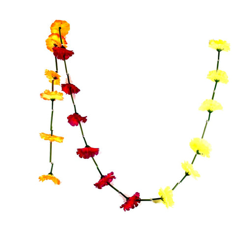 1 x Yellow / Fuchsia / Orange Hanging Artificial Garland Flowers with Green Stems (150cm Long)