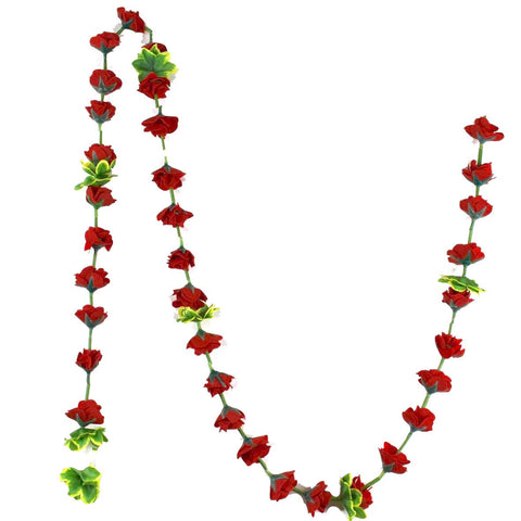 1 x Red Rose Hanging Artificial Garland Flowers with Wild Green Leaves and Stems (180cm Long)