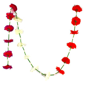 1 x Red / White / Fuchsia Hanging Artificial Garland Flowers with Green Stems (180cm Long)