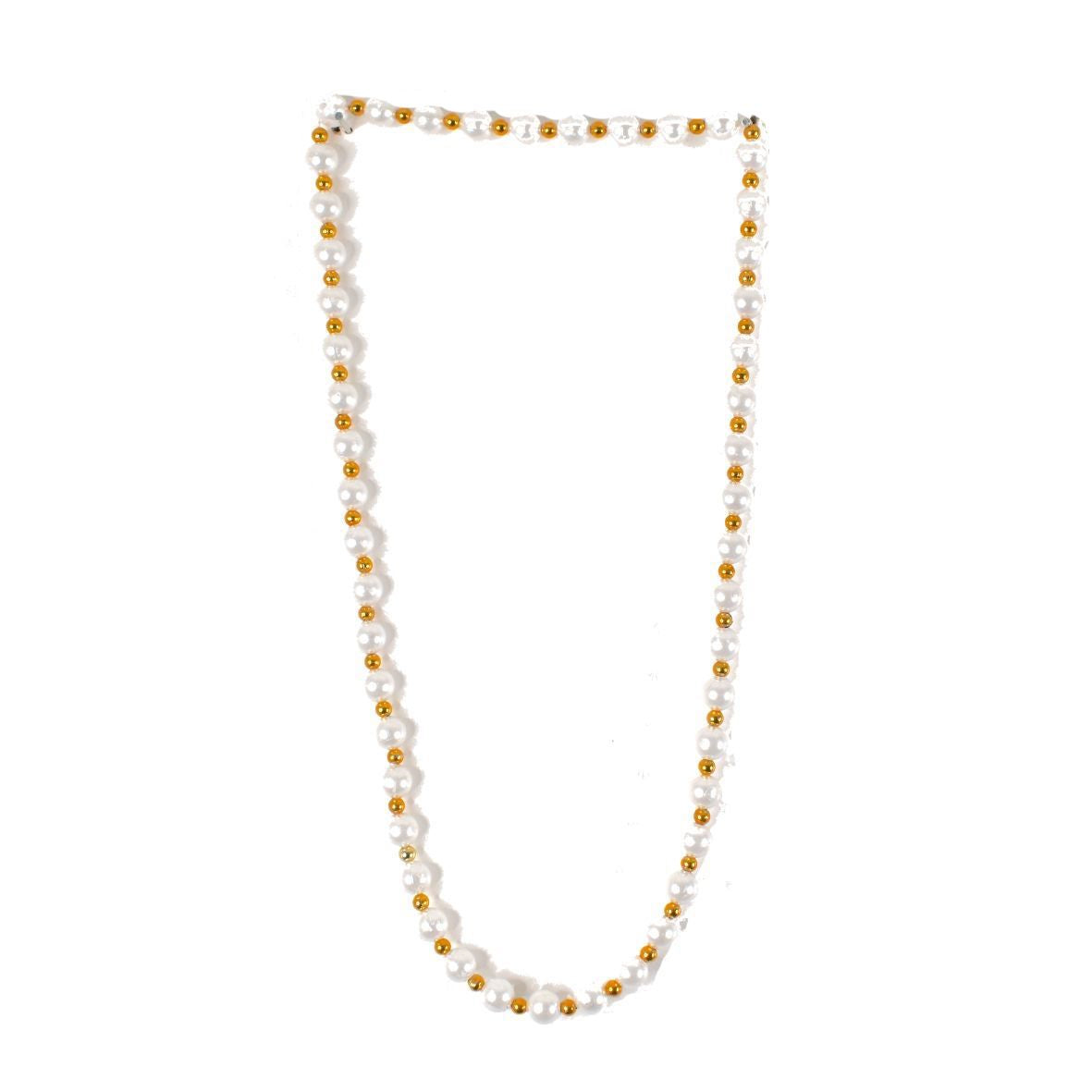 1 x White & Gold Artificial Pearl Necklace