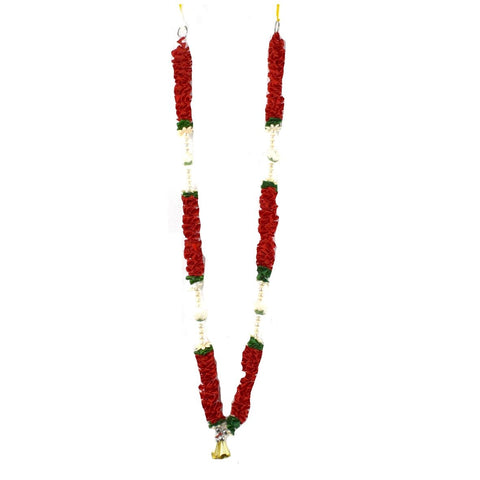 1 x Red / Green / White Artificial Necklace Garland Flowers with Gold Bells