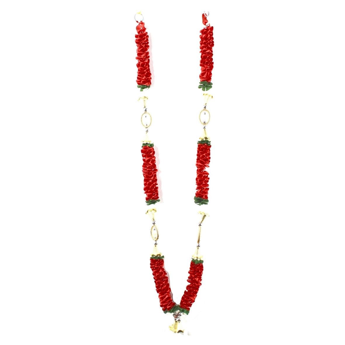 1 x Red / Green / Oval Frame Artificial Necklace Garland Flowers with Gold Bells