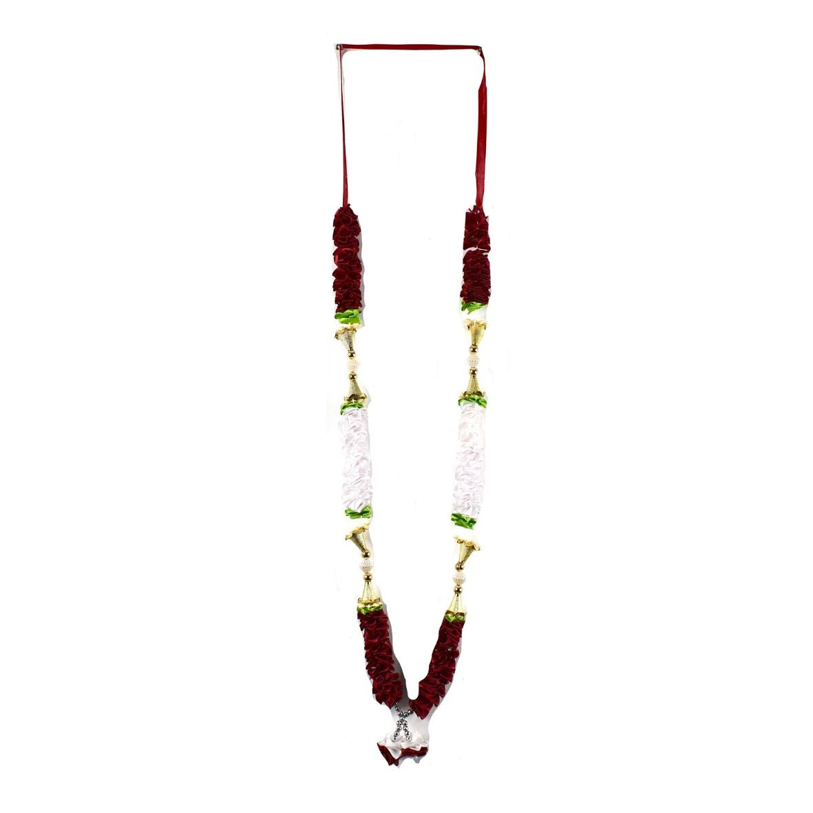 1 x Burgundy / White / Green Artificial Necklace Garland Flowers with Bells