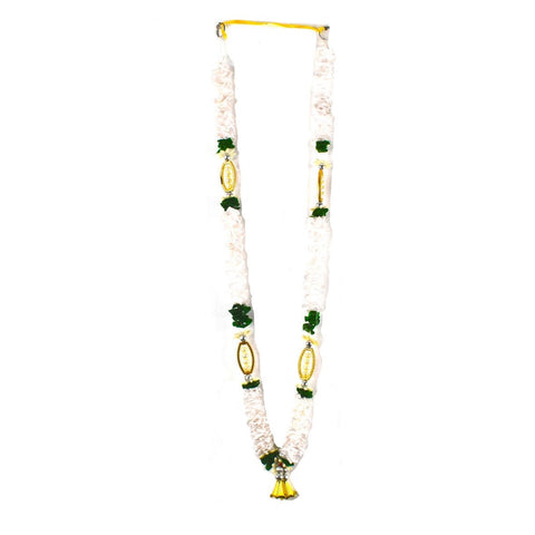 1 x White & Green Artificial Necklace Garland Flowers with Oval Frame and Bells