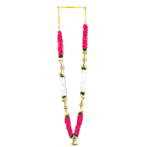 1 x Pink / White / Green Artificial Necklace Garland Flowers with Ball & Bells