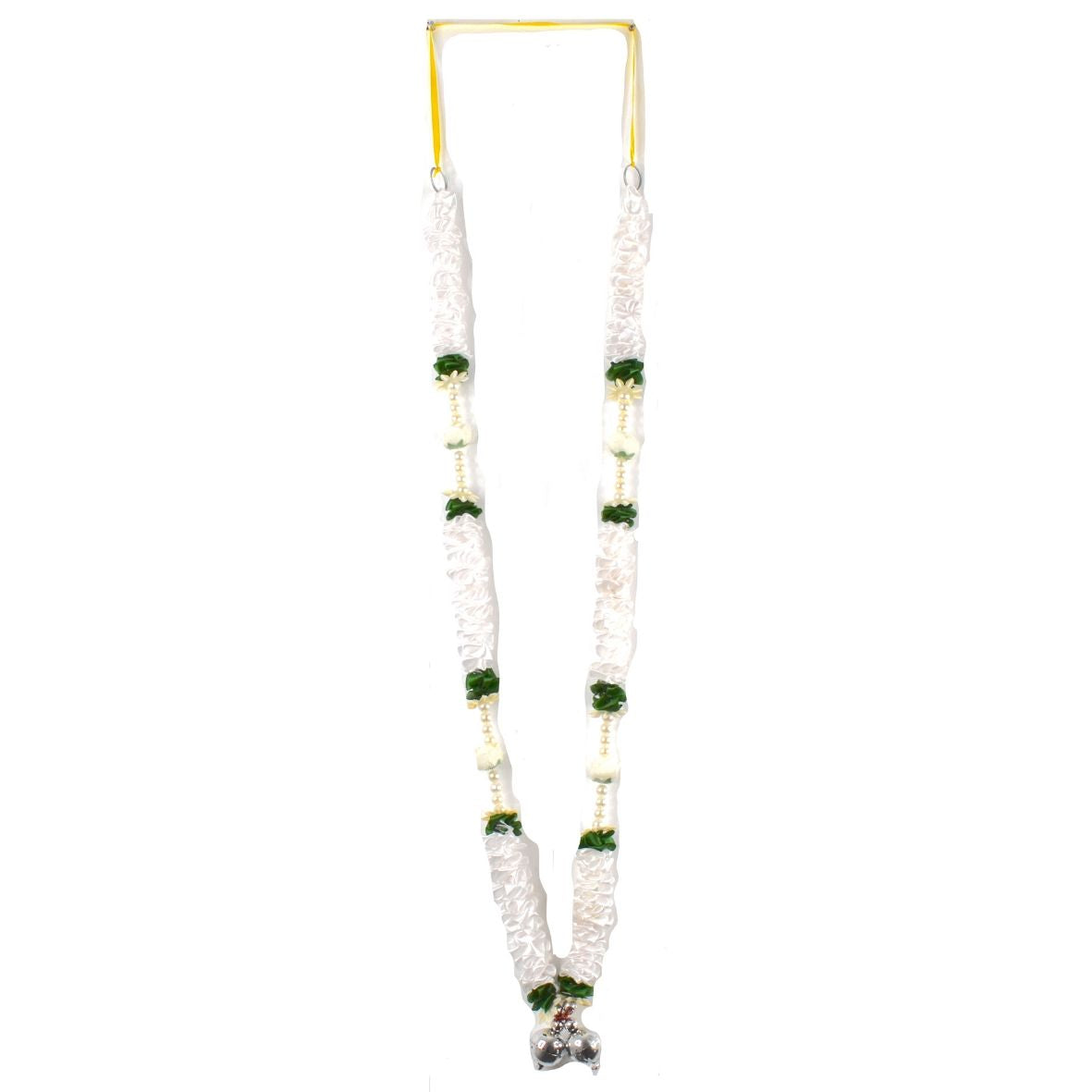 1 x White & Green Artificial Necklace Garland Flowers with Bells