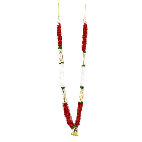 1 x Red / White / Green Artificial Necklace Garland Flowers with Oval Frame and Bells