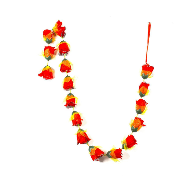 1 x Red Rose Garland with Silver Glitter Ends & Yellow Netting (140cm Long)
