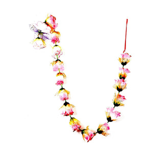 1 x Pink & White Rose Garland with Gold Glitter Ends & Gold Netting (140cm Long)