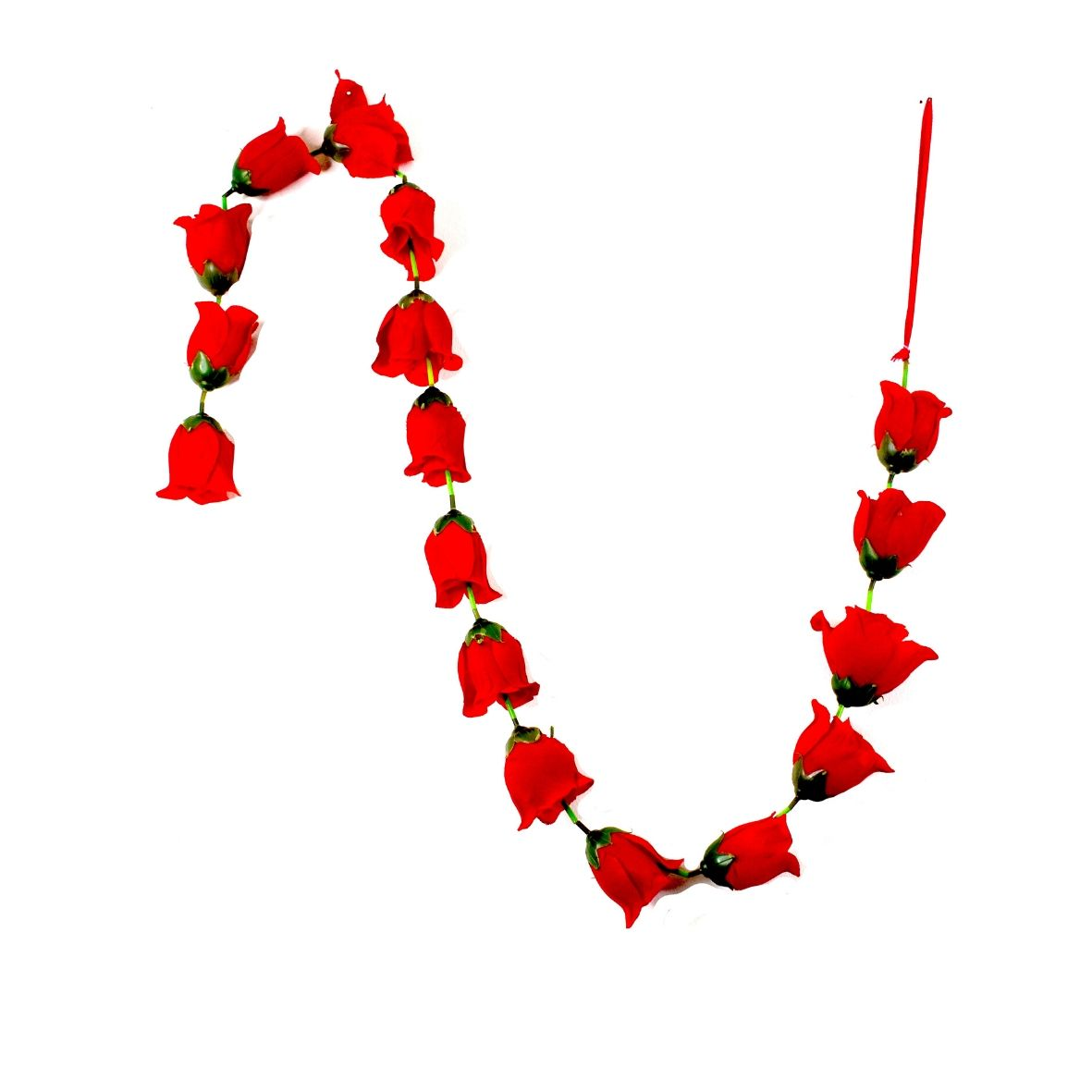 1 x Red Rose Garland with Green Leaves (140cm Long)