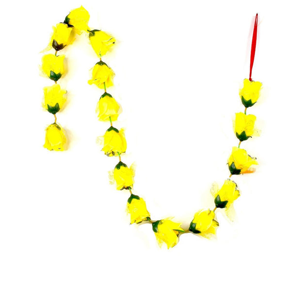 1 x Yellow Rose Garland with Silver Glitter Ends (140cm Long)