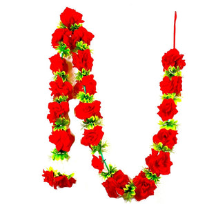 1 x Red Rose Garland with Wild Green Leaves (210cm Long)