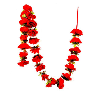 1 x Red Rose Garland with Shiny Green Leaves (200cm Long)
