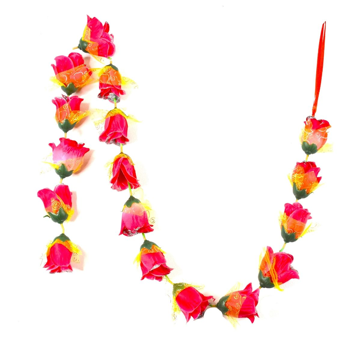 1 x Red Pink Rose Garland with Silver Glitter Ends & Yellow Netting (140cm Long)