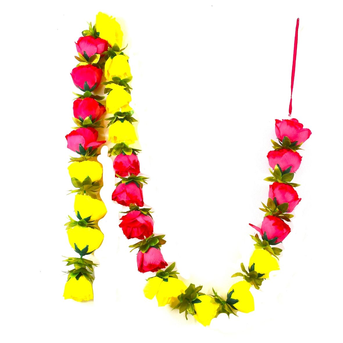 1 x Yellow & Pink Rose Garland with Golden Green Leaves (140cm Long)