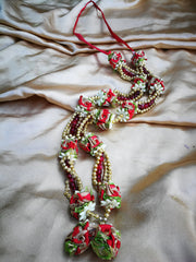 Artificial Necklace Garland Flowers - Gold / Red / Green Milini Haar Artificial Necklace Garland Flowers