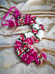 Artificial Necklace Garland Flowers - White / Hot Pink Milini Haar Artificial Necklace Garland Flowers