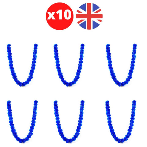 Bulk 10 x Strings of Blue Marigold Artificial Plastic Hanging Garland 4ft Long