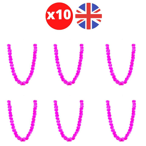 Bulk 10 x Strings of Hot Pink Marigold Artificial Plastic Hanging Garland 4ft Long