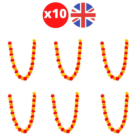 Bulk 10 x Strings of Orange / Red Marigold Artificial Plastic Hanging Garland 4ft Long