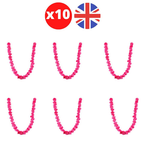 Bulk 10 x Strings of Red Marigold Artificial Plastic Hanging Garland 4ft Long