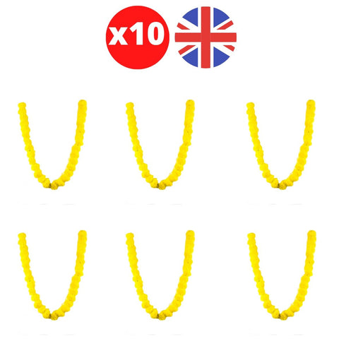 Bulk 10 x Strings of Yellow Marigold Artificial Plastic Hanging Garland 4ft Long