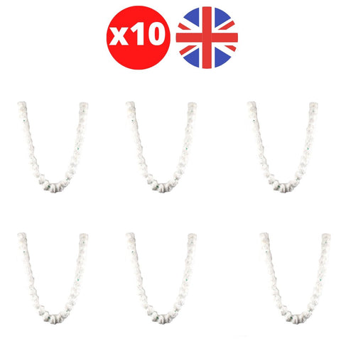 Bulk 10 x Strings of White Marigold Artificial Plastic Hanging Garland 4ft Long